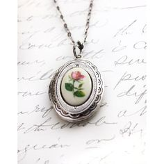 Rose Cameo Locket Necklace. Dark Ivory Dusky Pink Rose Vintage... ❤ liked on Polyvore featuring jewelry, necklaces, vintage necklace, victorian necklace, victorian cameo necklace, oval locket necklace and oval locket