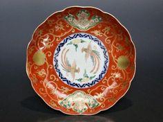 【杜】 伊万里 金襴手獅子に鳳凰と赤玉図7寸皿