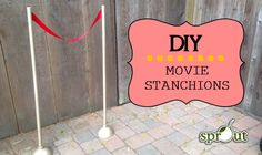 DIY Movie/Hollywood Stanchions! Great for your movie-themed classroom, Open House, Back to School Night or party! Can you guess the silly household item used to make these stunners?!?