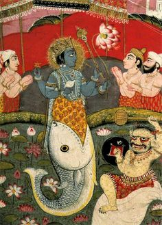 The painting showing blue-skinned, 4-armed upper body of man standing in the opened mouth of a fish with bent tail with other, paler men facing him with hands raised together