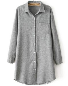 Grey Lapel Long Sleeve Pocket Long Blouse US$23.61
