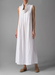 Linen Sleeveless Cowl Neck Long Dress White