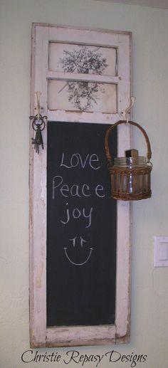 New bedroom door decorations chalk board Ideas Shabby Chic Style, Shabby Chic Decor, Bedroom Door Decorations, Deco Rose, Glass Cabinet Doors, Old Windows, Old Doors, Vintage Crafts, Chalkboard Art