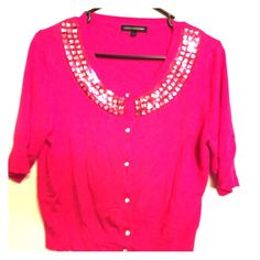 Pink Express Sweater This is great for wearing over a tank top to make it dressy. It has three quarter length sleeves and is shorter does not come down to your waist. This is great for a business casual work outfit. Make an offer! Express Tops