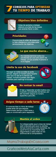 7 Consejos optimizar tu tiempo de trabajo.  http://graficoswebalacarta.com/