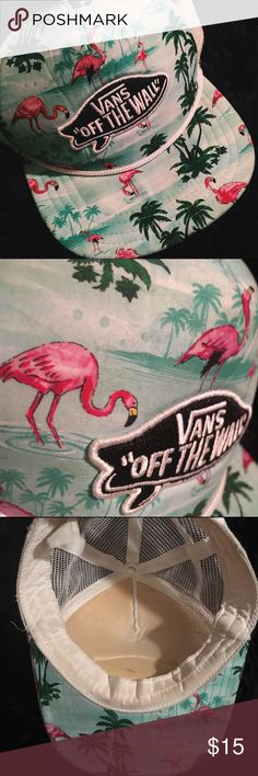 Vans Pink Flamingo Trucker Hat✨Rare! Vans Off the Wall surfboard patch on foamy front panel. Contrast band across bill. Open mesh back. Adjustable snapback. No longer in production! 💚Accepting offers! Vans Accessories Hats
