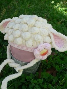 Crochet infant lamb hat in cream and pink!  Makes a great photo prop!