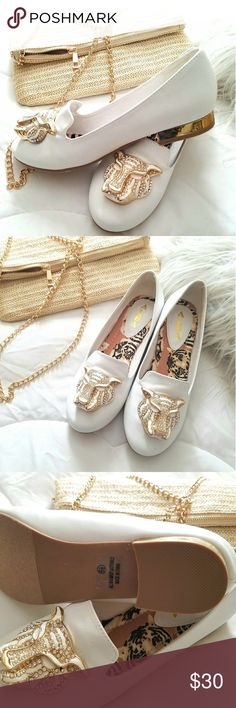 White and Gold Alba Flats Beautiful White & Gold flats/loafers.  Never worn.  Size 6.5.  True to size.  Dress them up or down, flattering either way.  You can never go wrong with these flats. Alba Shoes Flats & Loafers