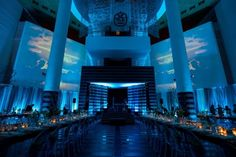 Guests enjoy a fully interactive experience with the ever-changing capabilities provided by video mapping at night. SFMOMA Modern Ball with Blueprint Studios. Photo by Show Ready Photography. Lighting Design by Got Light.