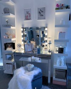 jordyn woods red table talk rate this vanity . Grey Bedroom Decor, Bedroom Decor For Teen Girls, Room Design Bedroom, Girl Bedroom Designs, Stylish Bedroom, Bedroom Layouts, Room Ideas Bedroom, Small Room Bedroom, Beauty Room Decor