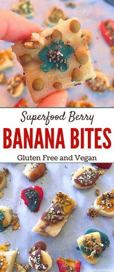 Craving a sweet but healthy treat? These superfood berry and banana bites are sweet enough to enjoy as a vegan dessert but nutritious enough to be a healthy snack. Enjoying a gluten free snack or a healthy vegan dessert has never been easier - or more delicious.