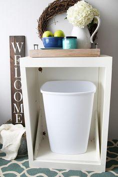 How to Make a Custom Tilt-out Trash Cabinet | JustAGirlAndHerBlog.com