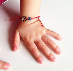 Red String Kabbalah Bracelets Blue Eye Golden by BannerDesignShop