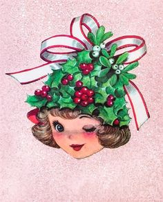 Pretty Girl Holly Hat PINK GLITTER 1950s Vtg Rust Craft Xmas Card -Cooper | eBay