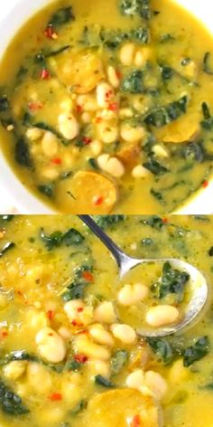 Soup Recipes 627618898055971012 - The best Tuscan White Bean Kale Soup recipe with winter squash, leeks, lacinato kale and creamy cannellini beans. Super easy to make, without meat, vegan and gluten free! Source by veggiesociety Kale Soup Recipes, Vegetarian Recipes, Dinner Recipes, Cooking Recipes, Cooking Videos, 10 Bean Soup Recipe, Recipes With Kale, Navy Bean Recipes, Vegan Bean Recipes