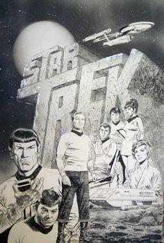 Original Comic Art titled Star Trek Illustration, located in Chris 's Little Nemo Shop Comic Art Gallery Star Trek Tv, Star Wars, Science Fiction, Star Trek Posters, Star Trek Original Series, Star Trek Characters, Movies And Series, Pulp, Star Trek Universe