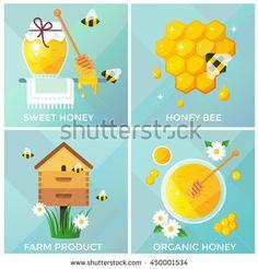 Honey, honeycomb and bees vector illustration, flat design - Shutterstock…