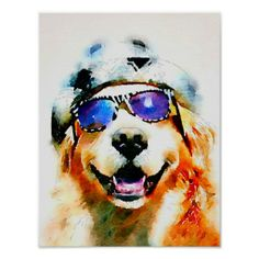 Golden Retriever in Hat and Sunglasses Watercolor Poster by #AugieDoggyStore