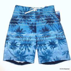 Speedo Swim Trunks Suit Board Shorts Small Blue Tropical Print Palms 1 Pocket #Speedo #Trunks