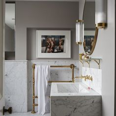 Metal windows, design classics, a marble and brass bathroom — this gorgeous family home by Livingetc has them all and lots more inspiring ideas too. Modern Farmhouse Bathroom, Modern Bathroom Design, Bathroom Interior Design, Modern Bathrooms, Interior Livingroom, Interior Paint, Bad Inspiration, Bathroom Inspiration, Interior Inspiration