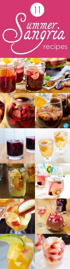 11 Summer Sangria Recipes - red, white, and sparkling. Perfect for summer!