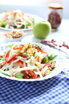 Apple and Kohlrabi Salad with Walnuts and Goji#healthy recipes#salads