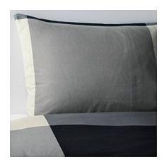 IKEA - BRUNKRISSLA, Funda nórd y 2 fundas almohada, 240x220/50x60 cm, , Los corchetes a presión ocultos mantienen el edredón en su sitio.