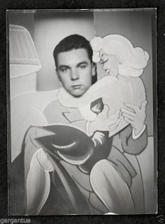 Cartoon Marilyn Monroe Give Lap Dance to Bored Boy 1950s Souvenir Photo | eBay