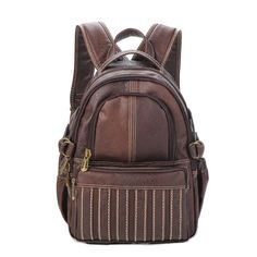 Preppy Style Dark Brown PVC Casual Backpacks Embellished with Thread for Girls