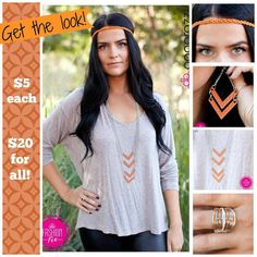 Get this fabulous look for just $20 plus tax!!  Paparazzi Accessories.  Lead and nickel free.  Feed your #5dollarhabit !!  www.fab45jewelry.com - click on Shop.