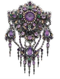 Devant de Corsage  c.1870's...purple white and green again...a closet suffragette maybe? :)