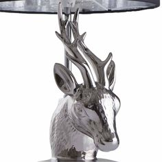 Wilko Silver and Black Stag Head Table Lamp Stag Head, Led Candles, Shades Of Black, Table Lamp, Silver, Round Round, Homes, Ideas