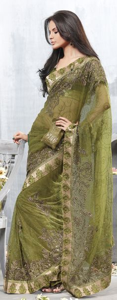 Rama Green Net Designer Festival Saree with Embroidery