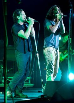 """Eddie Vedder and Chris Cornell . Beautiful together when they were together in the band """"temple of the dog"""""""