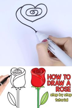 With this how to draw a rose step by step tutorial makes drawing this beautiful flower super easy, which makes it perfect for beginners as well as kids. painting tutorial easy How to Draw a Rose – Easy Step by Step For Beginners and Kids Easy Drawings For Beginners, Easy Drawings For Kids, Art Drawings Sketches Simple, Art For Kids, Crafts For Kids, Beautiful Easy Drawings, Easy Painting For Kids, Drawing Videos For Kids, Beautiful Pictures