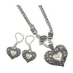 Marcasite Heart Necklace Set