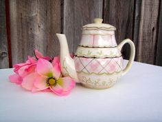 MWW Market Vintage Cream Pink Green and Brown by TheDarlingTeapot