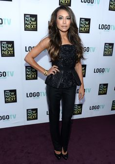 Naya Rivera in Monique Lhuillier at the 2013 NewNowNext Awards.