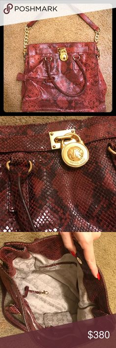 *RARE!* Michael Kors Red Python Hamilton Used once, in excellent brand new condition. Needs a new home to be loved! Willing to lower price through pal. Michael Kors Bags Shoulder Bags