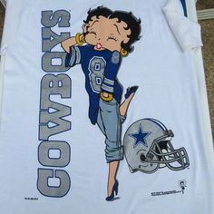 Vintage DALLAS COWBOYS Betty Boop TShirt  Size by shabbyshopgirls, $28.00