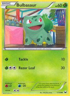 """""""Bulbasaur"""" - Pokemon card from the """"Dark Explorers set"""". New on http://colnect.com/trading_card_games"""