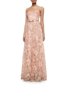 Marchesa Notte Strapless Sweetheart Belted Lace Full Gown