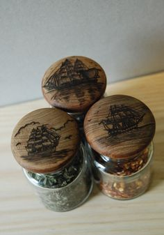 Woodburned Nautical Jars by Trevor Moody of Dirigo Craft & Supply Co.