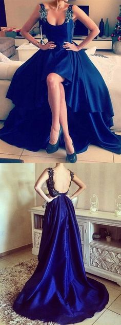 Asymmetrical Appliques Lace High Low Backless Prom Dresses, Royal Blue Prom Dress, High Low Prom Dress, Backless Prom Dress, Sexy Prom Dress