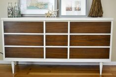 Mid Century Dresser.  Love the white and wood look.