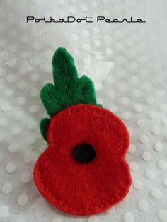 Remembrance Day Felt Poppy by PolkaDotPearle on Etsy, £3.50