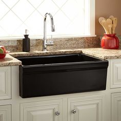 With Its Black Color, The Damali Fireclay Farmhouse Sink Has A Timeless  Design That Borrows From Current Stylings. Complete Your Kitchen Makeover  By Pairing ...