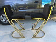 Contemporary Shells Inc Gold Tone Cantilever Bar Stools Milo Baughman Style #MidCenturyModern #ContemporaryShellsInc