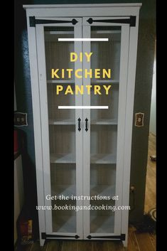 DIY Kitchen Pantry Need more room for groceries? Build your own freestanding kitchen pantry! Plenty of shelves in this cabinet kitchen pantry! Get the instructions here - Kitchen Pantry Cabinets Designs Kitchen Pantry Cupboard, Small Kitchen Pantry, Kitchen Pans, Kitchen Pantry Design, Kitchen Organization Pantry, Diy Kitchen, Pantry Ideas, Pantry Diy, Kitchen Ideas