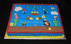 Super Mario Sheet Cake Simple sheet cake using toy figures. Iced in buttercream, fondant decorations.Thanks to ziplynn for the inspiration...